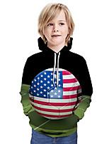 cheap -Kids Boys' Active Basic Color Block 3D Flag Print Long Sleeve Hoodie & Sweatshirt Army Green