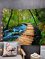 cheap -Home Living Tapestry Wall Hanging Tapestries Wall Blanket Wall Art Wall Decor Forest Tree Natural Water Blue Sky Cloudy Tapestry Wall Decor