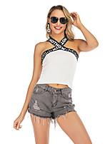 cheap -Women's Tank Top Letter Criss Cross Halter Neck Tops Slim Sexy Streetwear Basic Top White Black