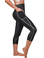 cheap -women sauna weight loss sweat pant fashion design slimming neoprene hot body shaper leggings (black capri-shorter, 3xl)