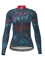 cheap -21Grams Women's Long Sleeve Cycling Jersey Polyester Dark Navy Novelty Lemon Bike Jersey Top Mountain Bike MTB Road Bike Cycling Breathable Quick Dry Reflective Strips Sports Clothing Apparel
