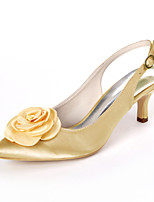cheap -Women's Wedding Shoes Kitten Heel Pointed Toe Sweet Wedding Party & Evening Satin Flower Solid Colored Satin White / Dark Purple / Champagne