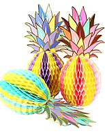 cheap -paper pineapple honeycomb centerpieces table and hanging decorations for hawaiian luau tiki beach wedding tropical fruit summer party, multicolored (3 pack)