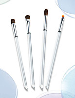cheap -4 Pcs Eye Makeup Brush Set Animal Pony Hair Eye Shadow Eyebrow Dry And Wet Powder Brush Transparent Handle