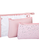 cheap -3pcs Travel Organizer Cosmetic Bag Travel Toiletry Bag Large Capacity Waterproof Travel Storage Durable Transparent Sequin PVC(PolyVinyl Chloride) For Portable Foldable Luggage