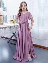 cheap -A-Line Jewel Neck Floor Length Chiffon Junior Bridesmaid Dress with Sash / Ribbon / Pleats
