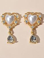 cheap -Women's Drop Earrings Heart Sweet Heart Romantic Imitation Pearl Earrings Jewelry Gold For Date Festival