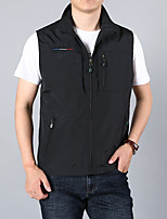 cheap -Men's Hiking Vest / Gilet Summer Outdoor Solid Color Thermal Warm Windproof Breathable Soft Jacket Fishing Climbing Camping / Hiking / Caving Black / Army Green / Khaki / Dark Blue