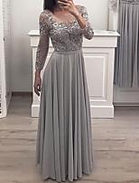 cheap -A-Line Elegant Floral Engagement Formal Evening Dress Illusion Neck Long Sleeve Floor Length Chiffon Lace with Pleats Appliques 2020