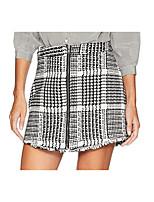 cheap -Women's Daily Wear Basic Cotton Mini Skirts Plaid / Slim