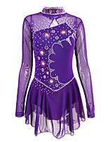 cheap -Figure Skating Dress Women's Girls' Ice Skating Dress Purple Spandex High Elasticity Training Competition Skating Wear Handmade Crystal / Rhinestone Long Sleeve Ice Skating Winter Sports Figure