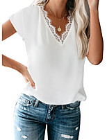 cheap -Women's T-shirt Solid Colored Patchwork Lace Trims V Neck Tops Basic Basic Top White Black Red