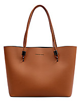 cheap -Women's Bags PU Leather Top Handle Bag Zipper for Daily Wine / Black / Brown