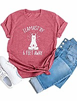 cheap -llamastay 6 feet away shirt women funny llama graphic tee casual short sleeve tops shirt & #40;red, xl& #41;