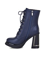 cheap -Women's Boots Wedge Heel Round Toe Classic Daily Solid Colored PU Booties / Ankle Boots Black / Blue