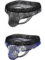 cheap -Men's 2 Piece Print G-string Underwear - Normal Low Waist Multi color M L XL