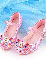 cheap -Girls' Heels Moccasin / Flower Girl Shoes / Children's Day Rubber / PU Little Kids(4-7ys) / Big Kids(7years +) Walking Shoes Rhinestone / Buckle / Sequin Blue / Pink / Gold Spring / Fall