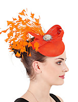 cheap -Queen Elizabeth Audrey Hepburn Retro Vintage 1950s 1920s Kentucky Derby Hat Pillbox Hat Women's Costume Hat Orange Vintage Cosplay Party Prom