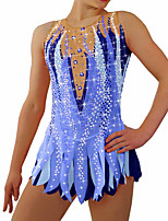 cheap -Figure Skating Dress Women's Girls' Ice Skating Dress Blue Glitter Spandex High Elasticity Training Competition Skating Wear Handmade Crystal / Rhinestone Sleeveless Ice Skating Winter Sports Figure