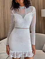 cheap -Women's A-Line Dress Short Mini Dress - Long Sleeve Solid Color Lace Spring Fall Casual Sexy Party Slim 2020 White S M L