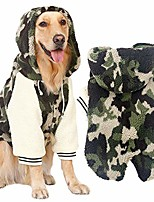 cheap -winter warm fleece jacket big large dog coat woodland camouflage dog puppy hoodie pajamas clothing warm cozy for golden retriever pitbull dog clothes 7xl