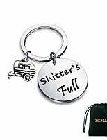 cheap -shitter's full keychain happy camper rv keychain camping keychain trailer christmas vacation jewelry (1pc circul keychain)