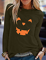cheap -Women's Halloween T-shirt Graphic Prints Pumpkin Long Sleeve Print Round Neck Tops 100% Cotton Basic Halloween Basic Top White Black Yellow