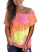 cheap -womens short sleeve tops off the shoulder t shirt casual tie dye shirts