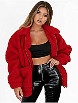 cheap -Women's Fall & Winter Coat Regular Solid Colored Daily Basic Faux Fur White Blue Red Camel S M L XL