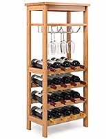 cheap -bamboo wine rack free standing wine holder display shelves with glass holder rack, 16 bottles stackable capacity for home kitchen, natural color