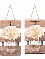 cheap -mason jar wall sconces, rustic brown wall hanging decor, led fairy lights with automatic on and off 6-hour timer (set of 2),brown