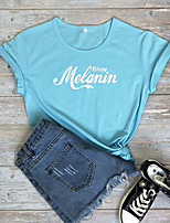 cheap -Women's T-shirt Letter Print Round Neck Tops 100% Cotton Basic Basic Top White Blue Purple