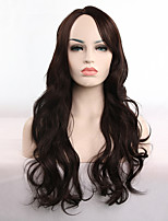 cheap -Synthetic Wig Curly Body Wave Asymmetrical Wig Long Dark Brown Synthetic Hair 28 inch Women's Soft Party Easy to Carry Dark Brown