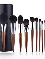 cheap -11 Pcs Makeup Brushes Set Slanted Tail Makeup Brushes Wood Color Makeup Brushes Beauty Tool Set Full Set