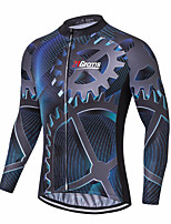 cheap -21Grams Men's Long Sleeve Cycling Jacket Dark Navy Novelty Bike Jersey Top Mountain Bike MTB Road Bike Cycling UV Resistant Breathable Quick Dry Sports Clothing Apparel / Stretchy