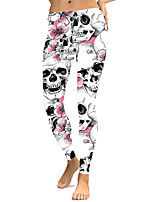 cheap -Women's Sporty Yoga Comfort Plus Size Skinny Halloween Leggings Pants Floral Skull Ankle-Length High Waist White