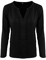 cheap -Women's T-shirt Solid Colored Long Sleeve Lace Trims V Neck Tops Basic Basic Top Black Wine