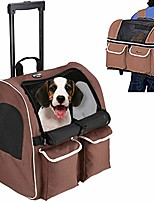 cheap -pet rolling carrier backpack dog wheel around cat luggage bag pet travel carrier (large-hold pets up to 17 lbs, blue&grey)
