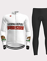 cheap -Men's Long Sleeve Cycling Jersey with Tights White Novelty Bike Breathable Quick Dry Moisture Wicking Sports Novelty Mountain Bike MTB Road Bike Cycling Clothing Apparel / Micro-elastic
