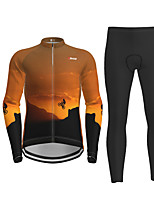 cheap -21Grams Men's Long Sleeve Cycling Jersey with Tights Orange Novelty Bike Breathable Quick Dry Moisture Wicking Sports Novelty Mountain Bike MTB Road Bike Cycling Clothing Apparel / Micro-elastic