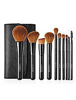 cheap -essential makeup brush set and brush kit, synthetic cosmetics foundation powder concealer kabuki bronzer blending blushes, aluminum ferrule, black/brown & #40;10 pieces& #41;