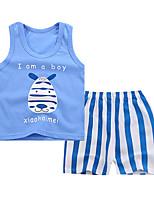 cheap -Kids Girls' Basic Daily Cartoon Letter Print Sleeveless Regular Regular Clothing Set Blue