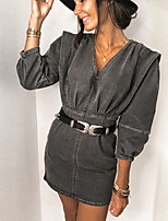 cheap -Women's Denim Dress Short Mini Dress - 3/4 Length Sleeve Solid Color Patchwork Zipper Fall V Neck Casual Lantern Sleeve Cotton Slim 2020 Blue Gray S M L XL