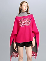 cheap -Women's Fall & Winter Open Front Cloak / Capes Regular Plants Daily Basic Embroidered Black Red Wine Fuchsia One-Size / Tassel Fringe / Loose / Batwing Sleeve