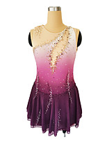 cheap -Figure Skating Dress Women's Girls' Ice Skating Dress Violet Glitter Patchwork Spandex High Elasticity Competition Skating Wear Handmade Crystal / Rhinestone Sleeveless Ice Skating Winter Sports