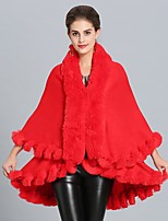 cheap -Women's Fall & Winter Open Front Cloak / Capes Regular Solid Colored Daily Basic Faux Fur White Black Red Blushing Pink One-Size