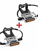 cheap -bike pedals with clips and straps, for spin bike, exercise bike and outdoor bicycles, 9/16-inch spindle resin/alloy bicycle pedals, multi-purpose pedals (white)