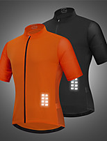 cheap -WOSAWE Men's Short Sleeve Cycling Jersey Black Orange Solid Color Bike Jersey Top Breathable Quick Dry Sports Clothing Apparel / Reflective Strips / Back Pocket / Breathable Armpits