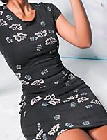 cheap -Women's Sheath Dress Short Mini Dress - Short Sleeve Animal Print Summer Casual Slim 2020 Black S M L XL XXL