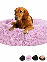 "cheap -calming shag faux fur dog bed,donut cuddler cat bed washable round pillow pet bed assorted color(23""/30"") for small medium dogs (large 30"", pink)"